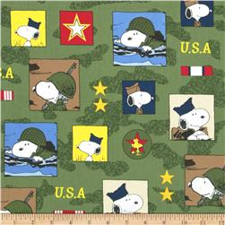 Peanuts Hugs for Heroes Patch Olive Fabric