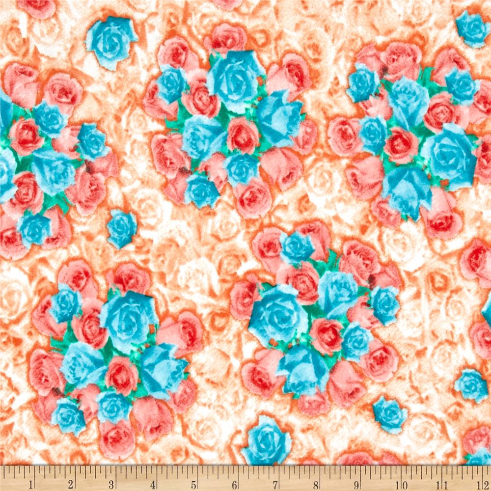 Liverpool Double Knit Rose Bouquet Orange/Turquoise