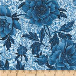 Timeless Treasures True Blue Large Floral Blue