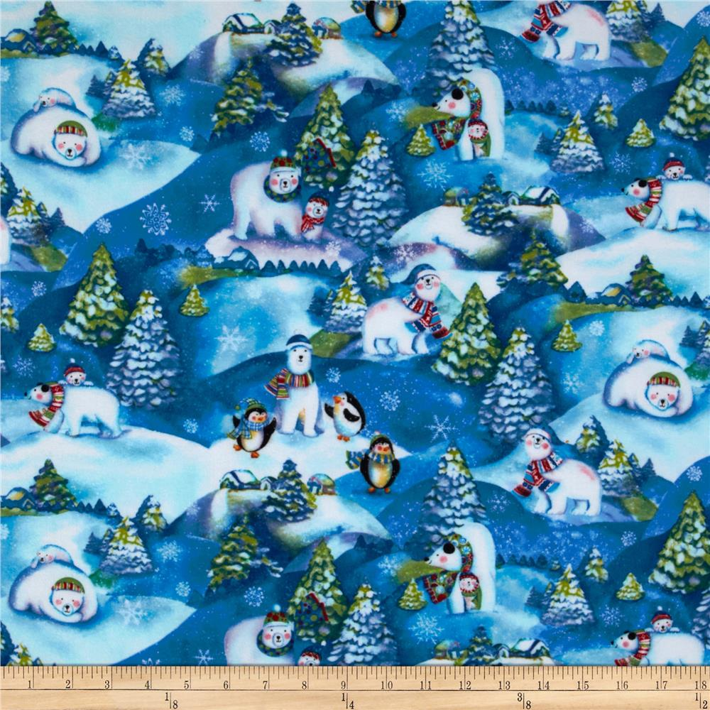 Winter Magic Flannel Allover Bears & Penguins Sky
