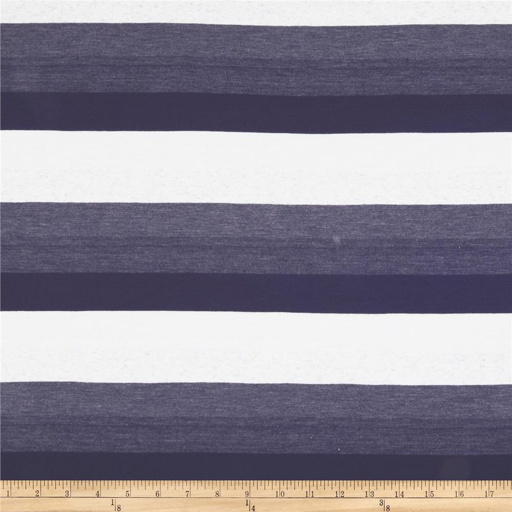 Stretch Yarn Dyed Jersey Knit Stripes Purple/White