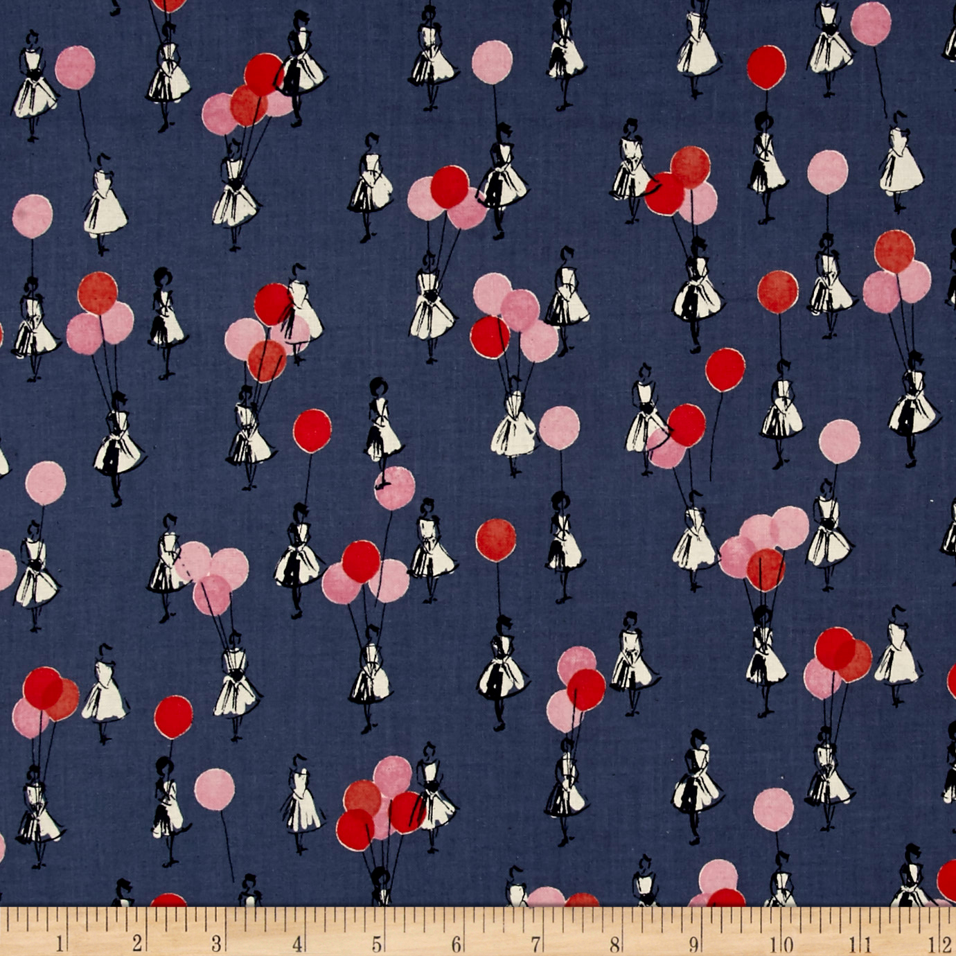 Image of Cotton + Steel Jubilee Balloons Blue Fabric