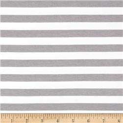 "Riley Blake Cotton Jersey Knit 1/2"" Stripes Gray"