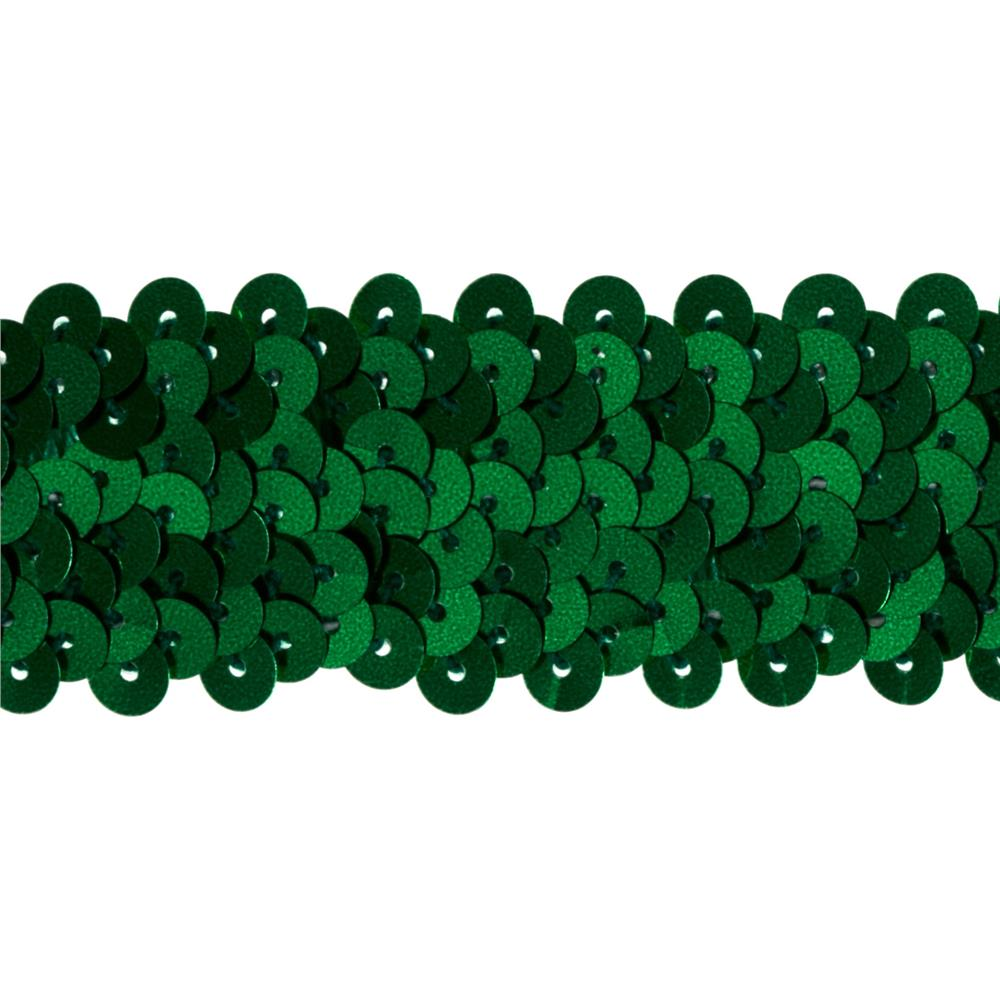 "1 1/4"" Metallic Stretch Sequin Trim Green"