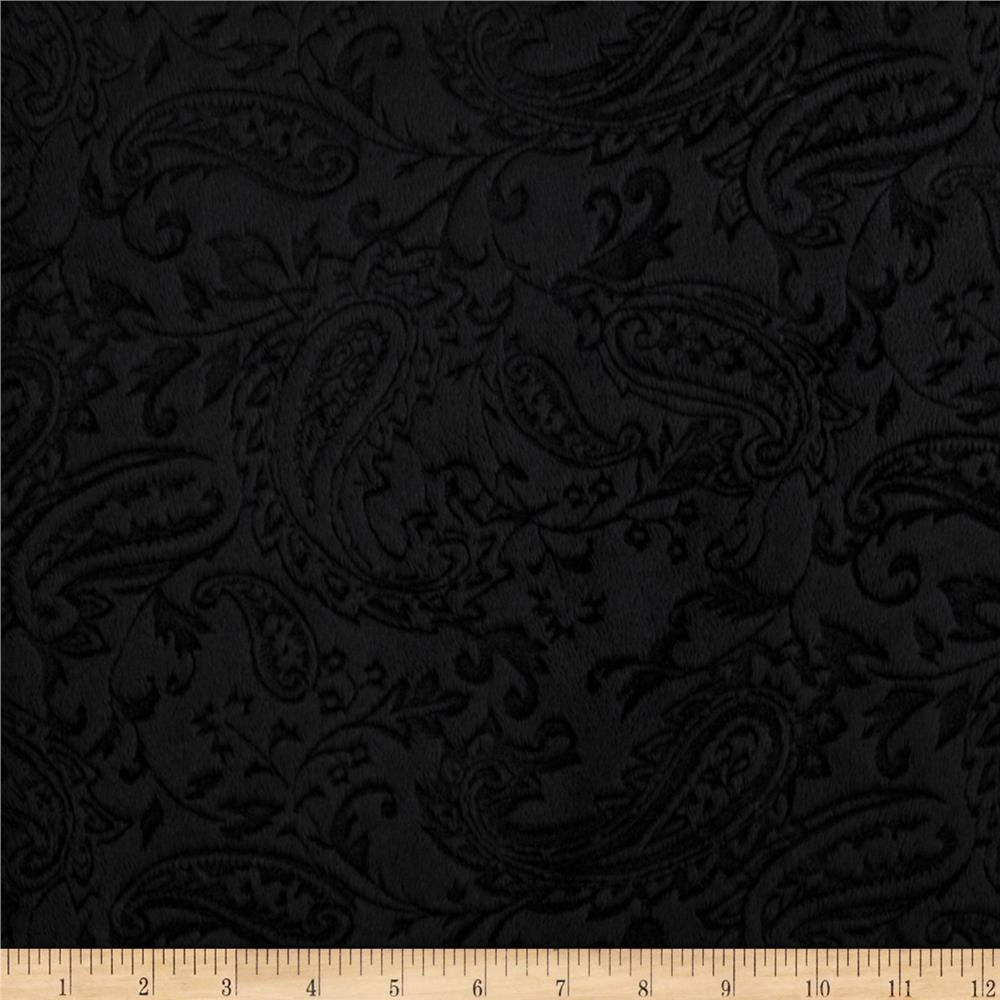 Shannon minky embossed paisley cuddle black discount for Black fabric