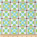 Cotton Poplin Retro Tile Blue/Brown