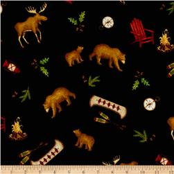 Lodge Life Flannel All Over Toss Bears/Canoes Black