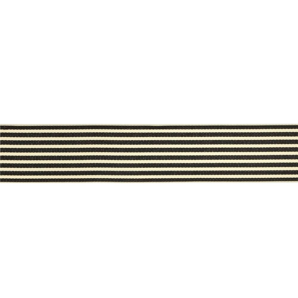 "May Arts 1 1/2""  Grosgrain Stripes Ribbon Spool Black/Ivory"