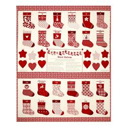 "Moda Merry Merry Advent Stockings 36"" Panel Ribbon"