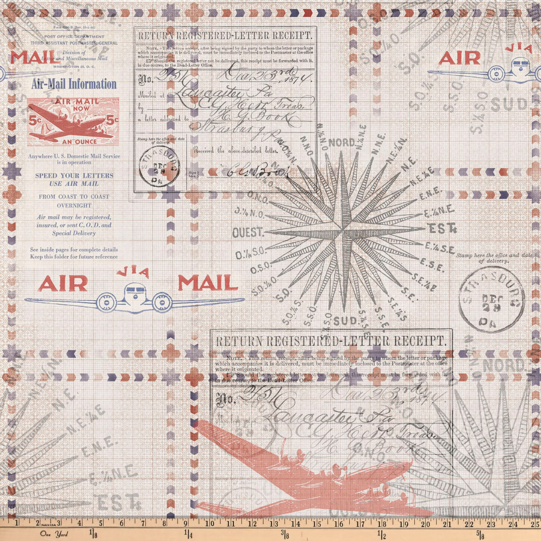 Tim Holtz Eclectic Elements Correspondence Transit Red Fabric by Westminster in USA