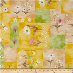 Livingston Vinyl Natural Floral Patch Yellow