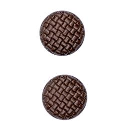"Fashion Button 7/8"" Lattice Dark Brown"