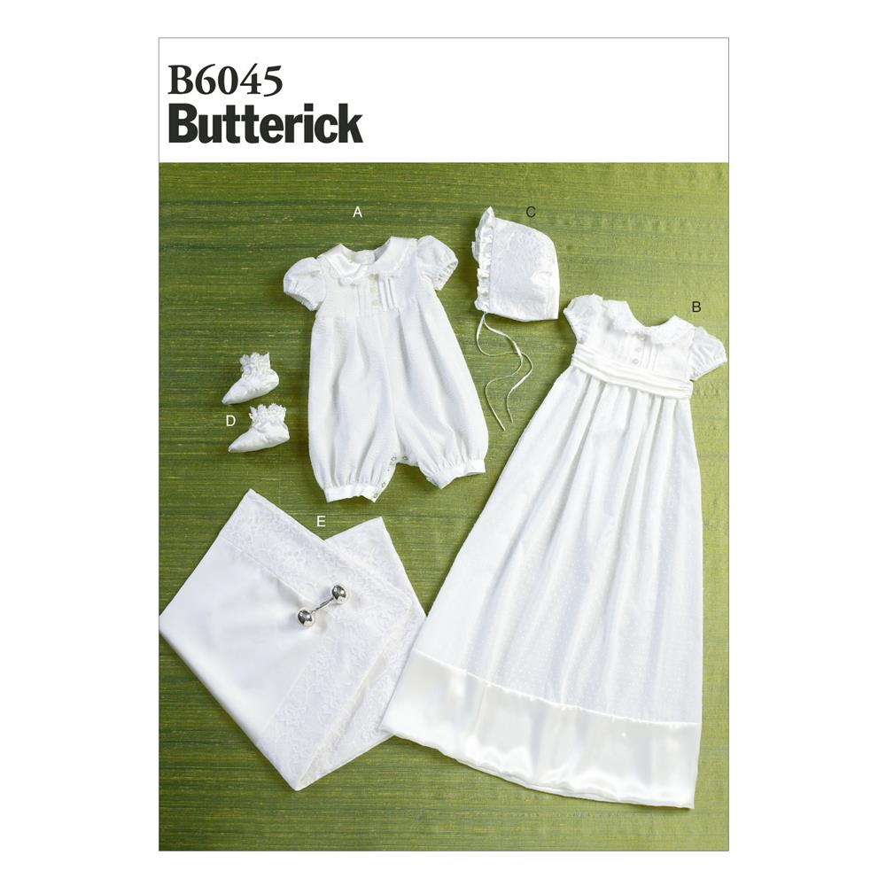 Butterick Infants' Romper, Dress, Sash, Hat, Booties and Blanket Pattern B6045 Size YA5