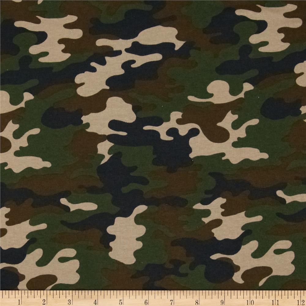 Kaufman laguna stretch jersey knit camouflage nature green for Apparel fabric