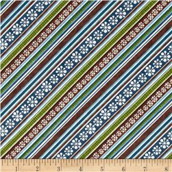 Jingle Bell Snowmen Diagonal Stripe Brown/Blue Fabric