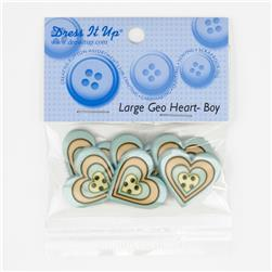 Dress It Up Embellishment Buttons  Large Geo Heart Boy