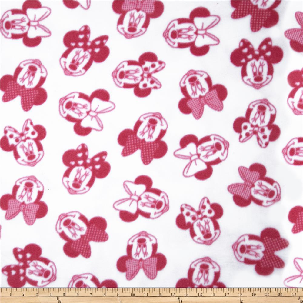 Disney Minnie Head Toss Fleece Dark Pink/White Fabric By The Yard
