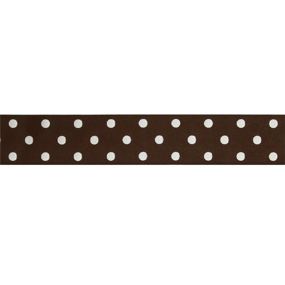 "1 1/2"" Grosgrain Polka Dot Ribbon Brown"