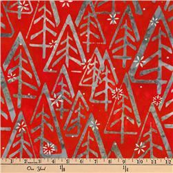 Kaufman Batiks Metallic Noel Geo Trees Holiday