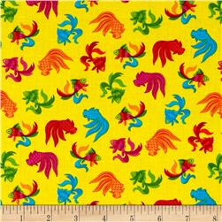 Calypso Frogs Small Goldfish Yellow Fabric