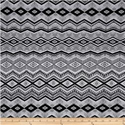 Cotton Lycra Spandex Jersey Knit Aztec Diamonds Black/White