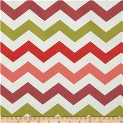 Bartow Indoor/Outdoor Chevron Coral/Red/Chartreuse Fabric
