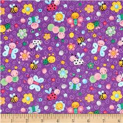 Spring Fling Allover Bugs Purple
