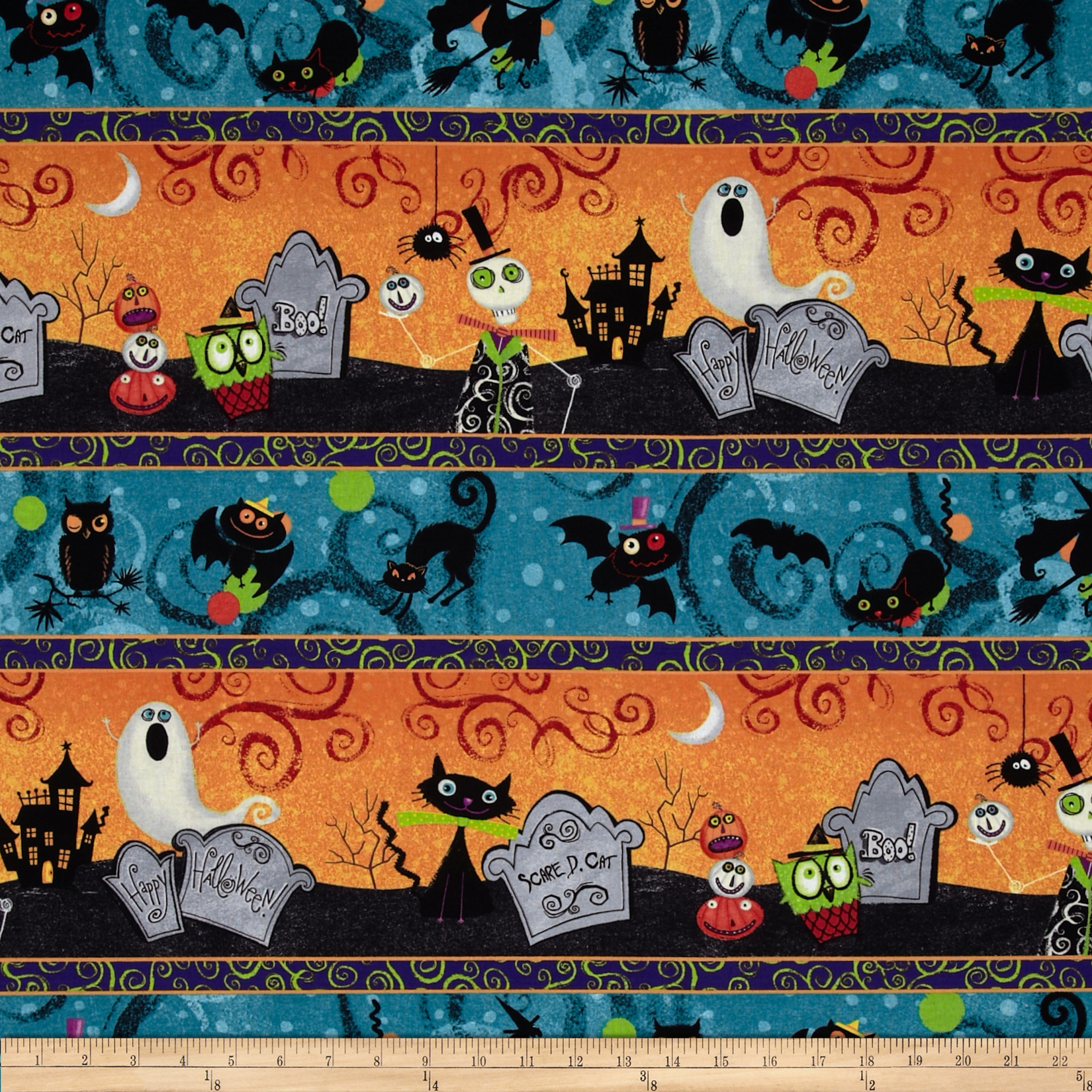 Halloween Repeating Stripe Multi Fabric