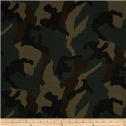 Stretch Cotton French Terry Camo Dark Green
