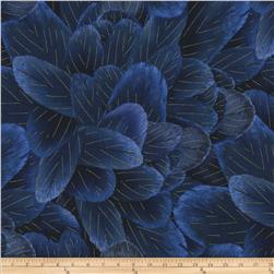 Timeless Treasures Blue Bird Metallic Packed Feathers Blue