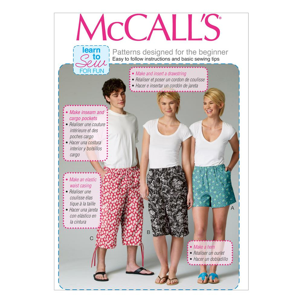 McCall's Misses'/'Men's/Teen Boys' Shorts Pattern M6933 Size OSZ