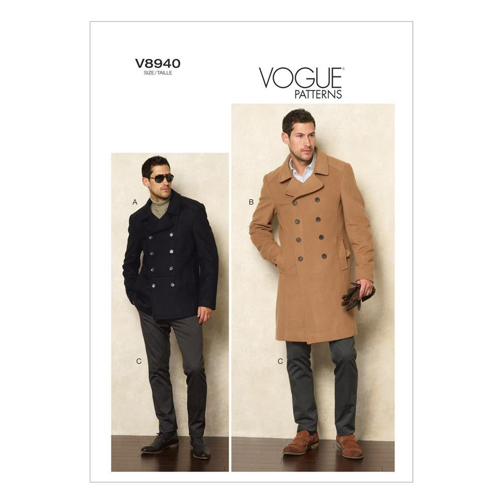 Vogue Men's Jacket and Pants Pattern V8940 Size MUU