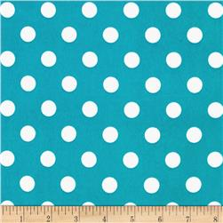 Stretch ITY Jersey Knit Medium Dots Turquoise/White