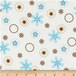 Cozy Cotton Flannel Multi Floral Aqua Fabric