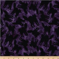 Timeless Treasures Tonga Batiks Haunted Black Cats Violet