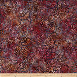 Kaufman Regal Batiks Leaf Paisley Cranberry