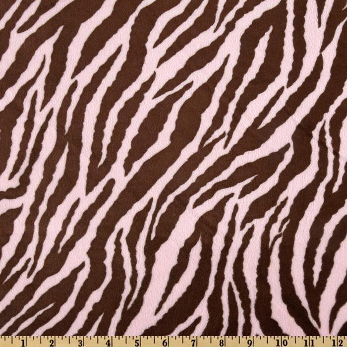 Minky Cuddle Zebra Pink/Brown