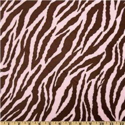 Minky Cuddle Zebra Baby Pink/Brown
