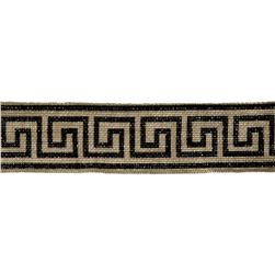 "2 3/8"" Burlap Trim Greek Key Black"