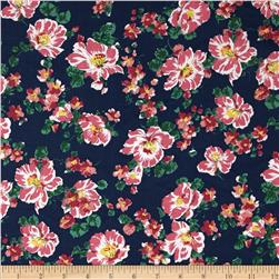 Cotton Lawn Print Floral Navy/Pink/Green
