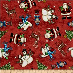 Santa Coming To Town Santa, Snowmen & Reindeer Red