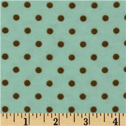 Aunt Polly's Flannel Small Polka Dots Mint/Brown