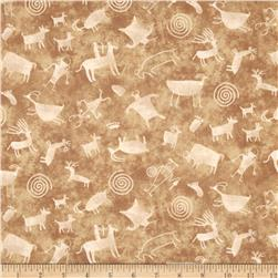 Timeless Treasures Southwest Petroglyphs Tan