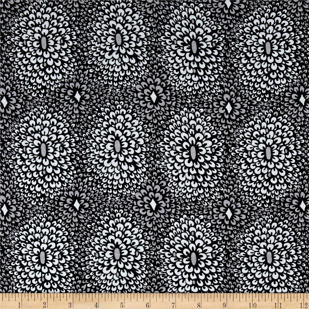 Designer Printed Knit Abstract Flower Ptich Black