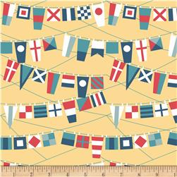 Riley Blake Fly Aweigh Flags Yellow Fabric