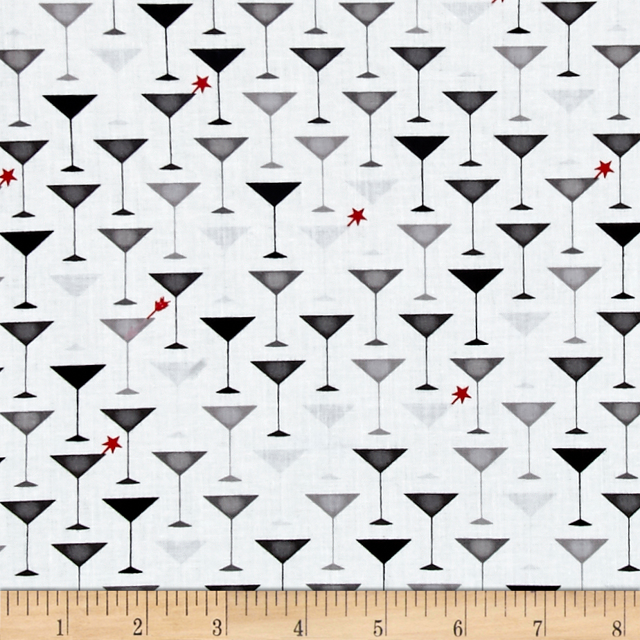 Ink & Arrow It's All About Me Martini Glasses White Fabric by Quilting Treasures in USA