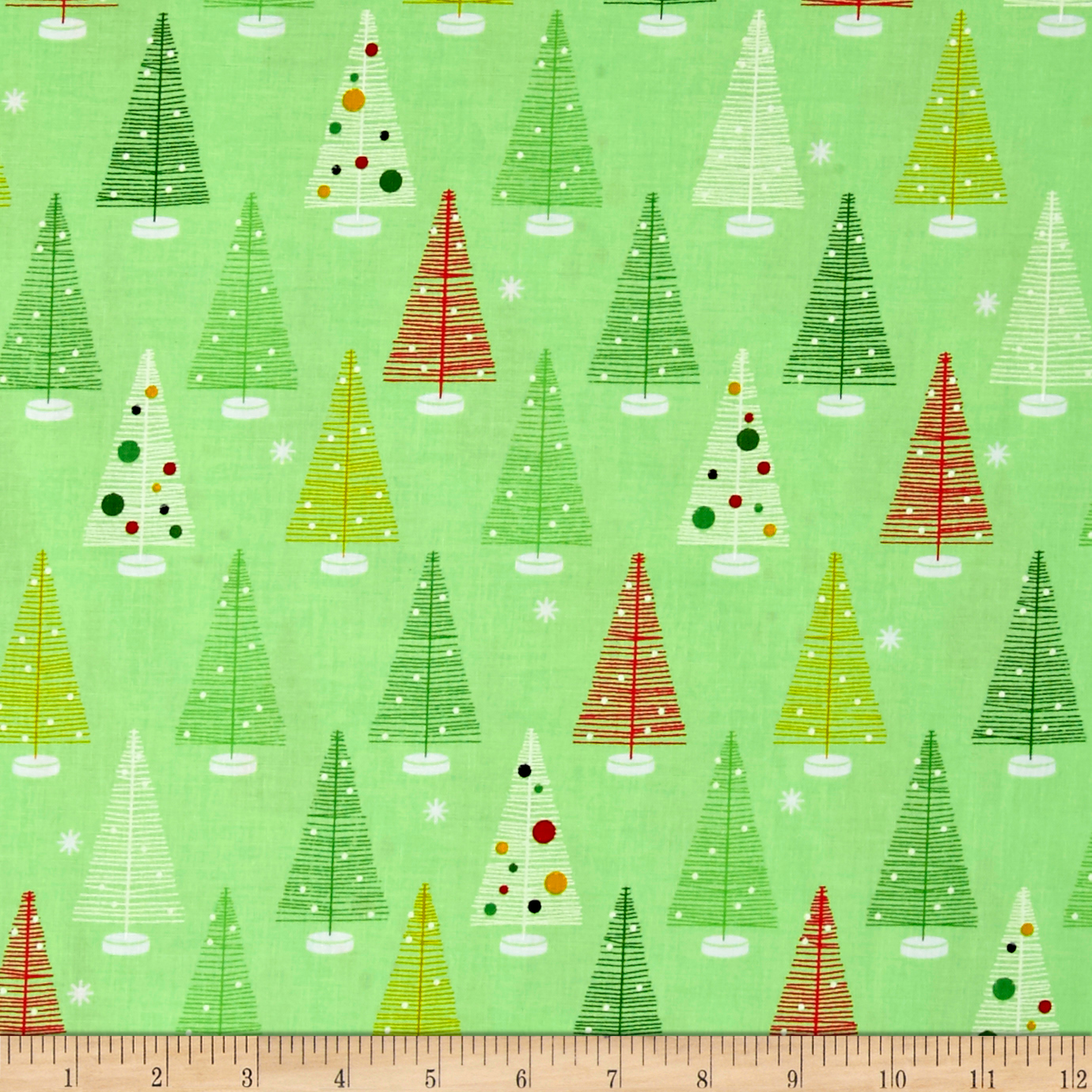 Kaufman Swell Noel Christmas Trees Holiday Fabric By The Yard