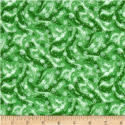 Season's Greetings Snowflakes Green
