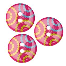 Fashion Button 3/4'' Confetti Dots Pink