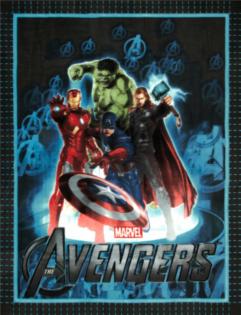 The Avengers No Sew Fleece Throw Kit Heroes Blue